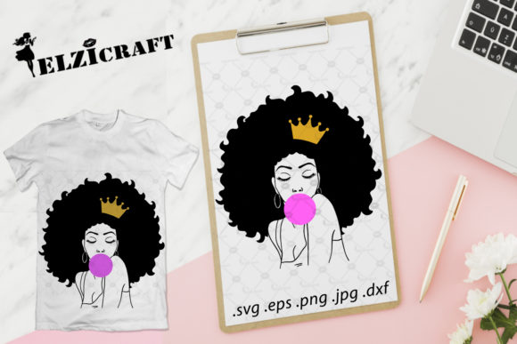 Download Free Afro Woman Melanin Poppin Silhouette Graphic By Elzicraft for Cricut Explore, Silhouette and other cutting machines.