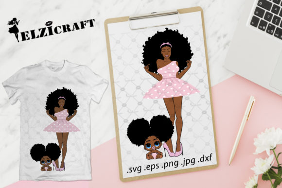 Download Free Afro Woman Mother And Daughter Design Graphic By Elzicraft for Cricut Explore, Silhouette and other cutting machines.