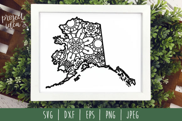 Download Free Alaska State Mandala Zentangle Graphic By Savoringsurprises for Cricut Explore, Silhouette and other cutting machines.