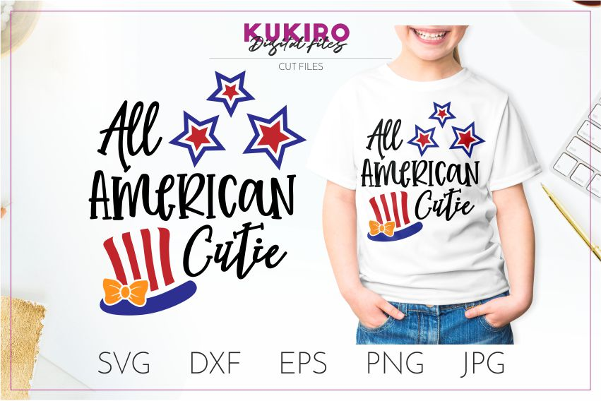 Download Free All American Cutie Svg 4th Of July Svg Graphic By Kukiro for Cricut Explore, Silhouette and other cutting machines.