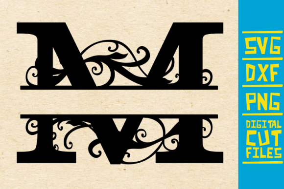 Download Free Alphabet Floral Split Monogram M Graphic By Svgyeahyouknowme SVG Cut Files
