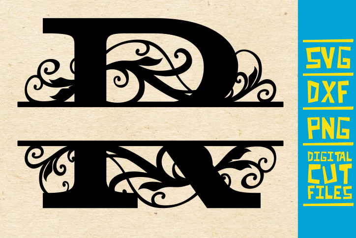 Alphabet Floral Split Monogram R Graphic By Svgyeahyouknowme