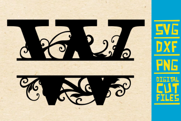 Download Free Alphabet Floral Split Monogram W Graphic By Svgyeahyouknowme Creative Fabrica for Cricut Explore, Silhouette and other cutting machines.