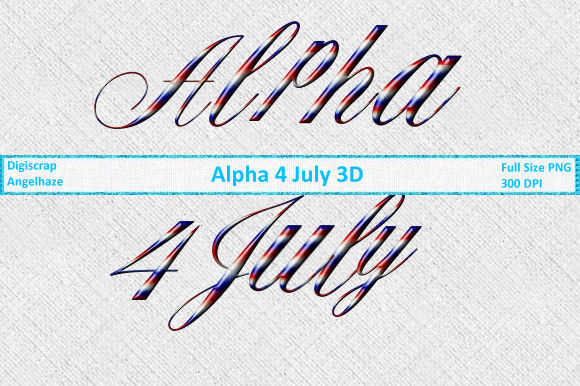 Print on Demand: Alphas 4 July 3D Graphic Web Elements By Digiscrap Angelhaze - Image 1