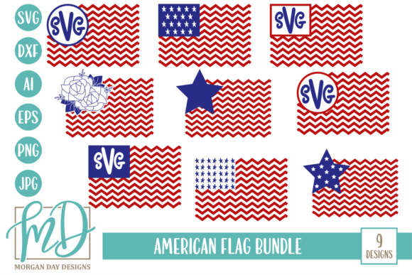 Download Free American Flag Bundle Graphic By Morgan Day Designs Creative for Cricut Explore, Silhouette and other cutting machines.