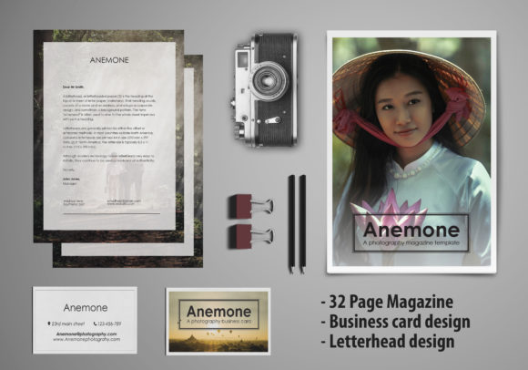 Print on Demand: Anemone Visual Stationary Template Graphic Print Templates By denestudios