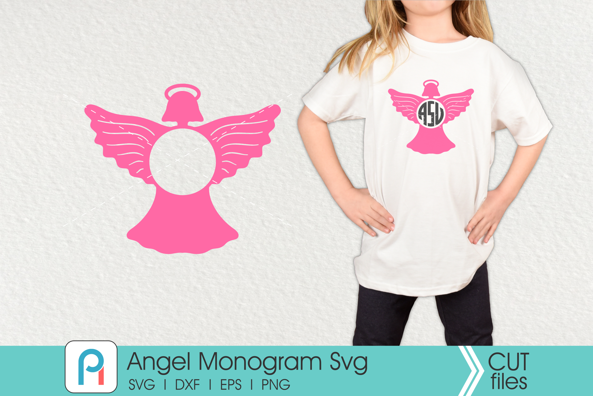 Download Free Angel Monogram Graphic By Pinoyartkreatib Creative Fabrica for Cricut Explore, Silhouette and other cutting machines.