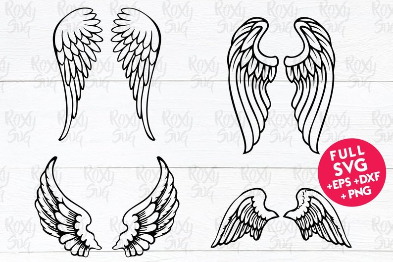 Download Free Angel Wings Graphic By Roxysvg26 Creative Fabrica for Cricut Explore, Silhouette and other cutting machines.