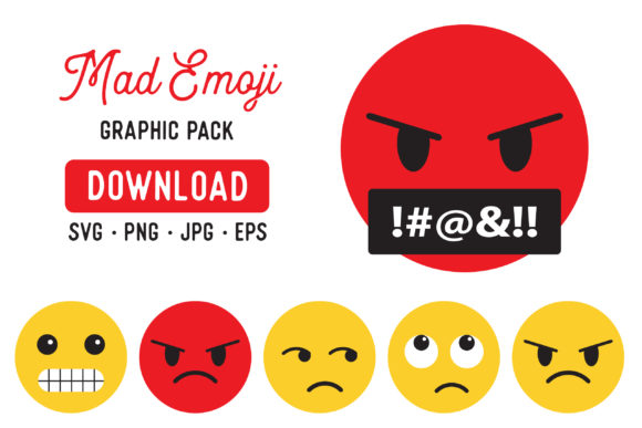 Download Free Angry Emoji Clipart Graphic Bundle Graphic By The Gradient Fox SVG Cut Files