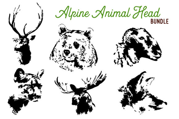 Print on Demand: Animal Head Graphics Bundle Graphic Illustrations By The Gradient Fox