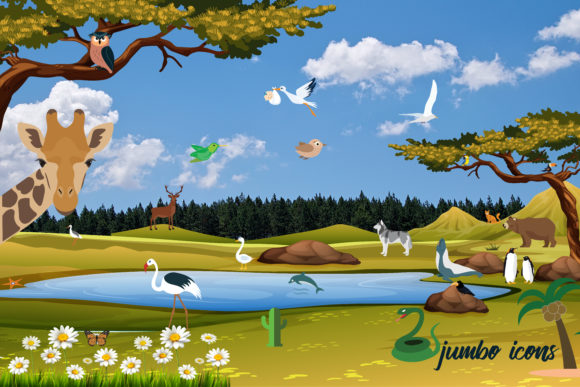 Animals, Birds Vector Flat Icons Graphic Design