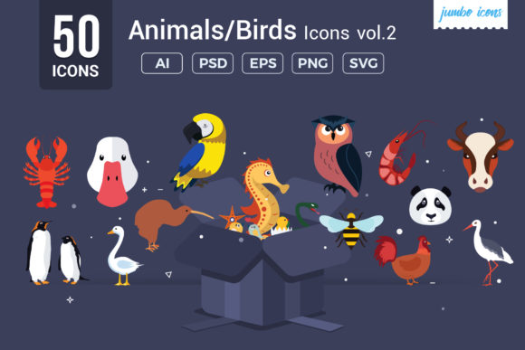 Print on Demand: Animals, Birds Vector Flat Icons Gráfico Iconos Por jumboicons
