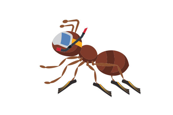 Download Free Ant With Snorkle Mask And Fins Svg Cut File By Creative Fabrica Crafts Creative Fabrica for Cricut Explore, Silhouette and other cutting machines.