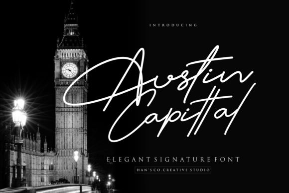 Print on Demand: Austin Capittal Script & Handwritten Font By HansCo