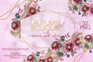 Download Free Autumn Bouquet With Acorns And Asters Graphic By Mystocks for Cricut Explore, Silhouette and other cutting machines.