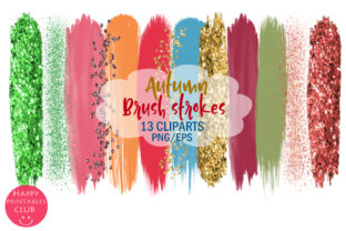 Autumn Brush Strokes Clipart-Fall Brush Graphic By Happy Printables Club