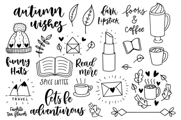 Download Free Autumn Doodle Lettering Kit Graphic By Sentimental Postman for Cricut Explore, Silhouette and other cutting machines.