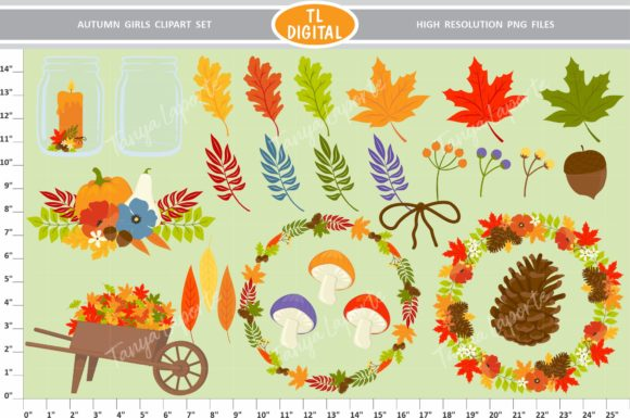 Autumn Girls Clipart Set - 73 Graphics Graphic Illustrations By TL Digital - Image 2