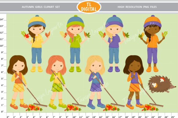 Autumn Girls Clipart Set - 73 Graphics Graphic Illustrations By TL Digital - Image 3