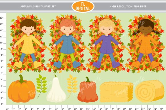 Autumn Girls Clipart Set - 73 Graphics Graphic Illustrations By TL Digital - Image 4