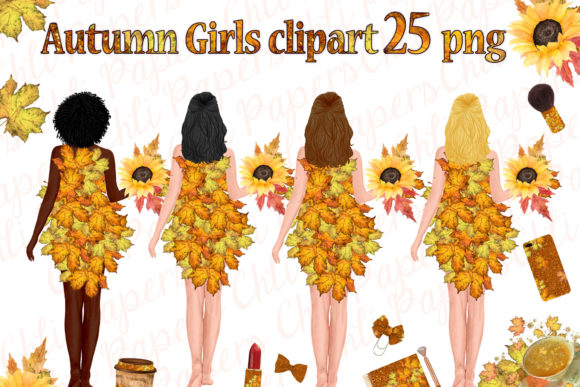 Autumn Girls Clipart,Thanksgiving Clipat Gráfico Ilustraciones Por ChiliPapers