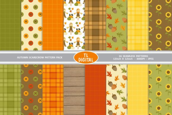 Autumn Scarecrows Seamless Paper Pack Gráfico Moldes Por TL Digital