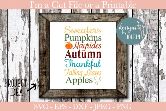 Download Free Lovely Autumn Art Graphic By Designs By Jolein Creative Fabrica for Cricut Explore, Silhouette and other cutting machines.