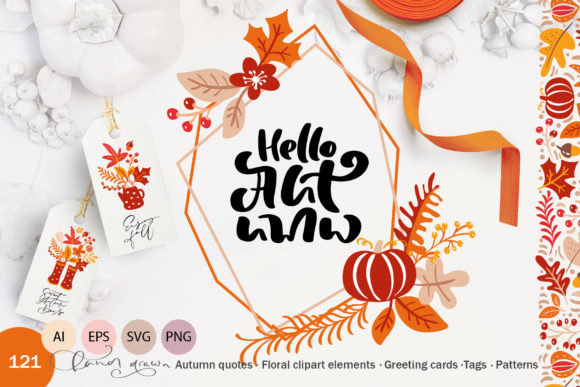 Download Free Autumn Vector Calligraphy Elements Graphic By Happy Letters for Cricut Explore, Silhouette and other cutting machines.