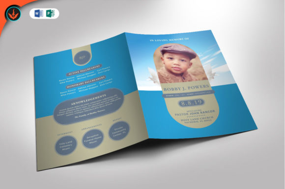 Baby Blue Funeral Program Template Graphic By seraphimchris
