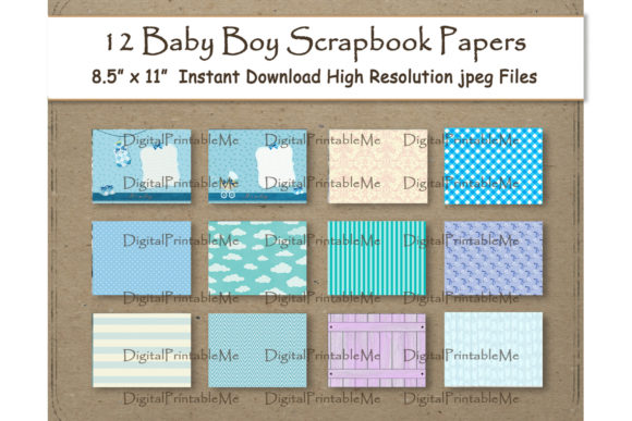 Baby Boy Digital Paper Graphic Backgrounds By DigitalPrintableMe - Image 1
