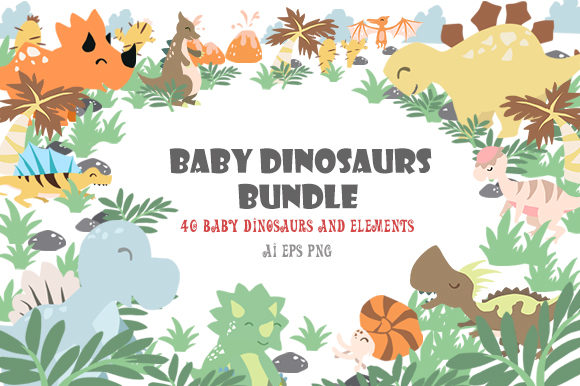 Download Free Baby Dinosaur Graphic By Lastwizard Studio Creative Fabrica for Cricut Explore, Silhouette and other cutting machines.