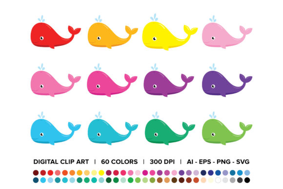 Download Free Baby Whale Clip Art Set Graphic By Running With Foxes Creative for Cricut Explore, Silhouette and other cutting machines.