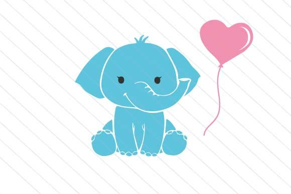 Download Baby Elephant Svg, Heart Balloon Svg