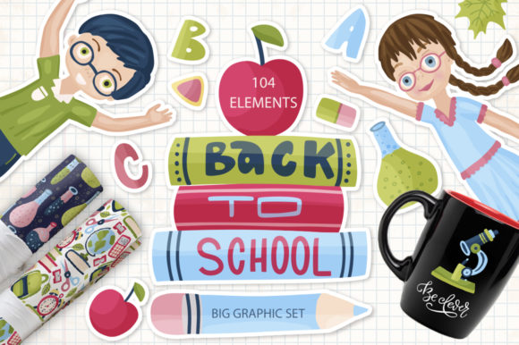 Print on Demand: Back to School. Big Graphic Set. Gráfico Ilustraciones Por Red Ink