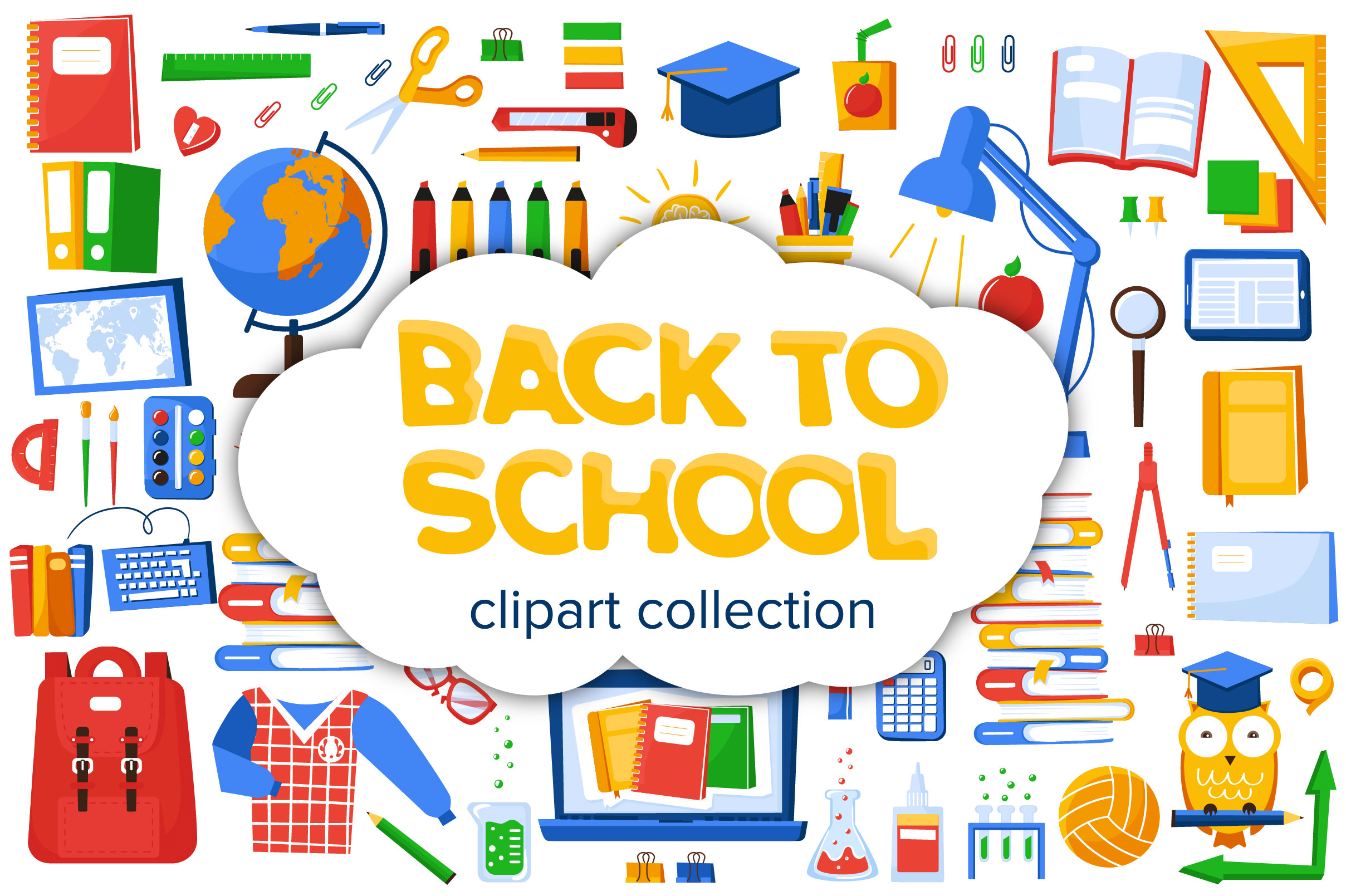 Download Free Back To School Clipart Graphic By Katiazhe Creative Fabrica for Cricut Explore, Silhouette and other cutting machines.