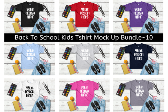 Print on Demand: Back to School Kids Tshirt MockUp Bundle Graphic Product Mockups By Mockup Venue