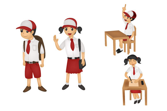 Download Free Back To School Cartoon Character Bundle Graphic By Iop Micro for Cricut Explore, Silhouette and other cutting machines.