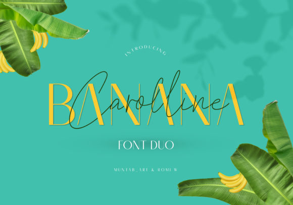 Print on Demand: Banana Carolline Duo Script & Handwritten Font By Muntab_Art