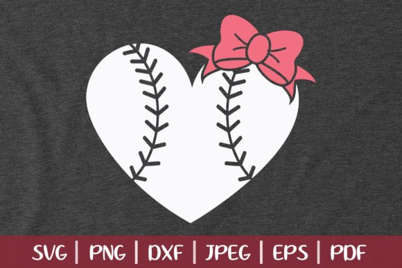 Baseball Heart with Bow Graphic Logos By SeventhHeaven Studios