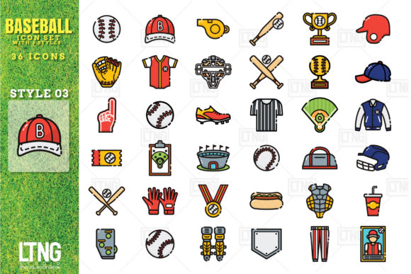 Download Free Baseball Icon Set With 3 Styles Graphic By Luluimanda82 for Cricut Explore, Silhouette and other cutting machines.
