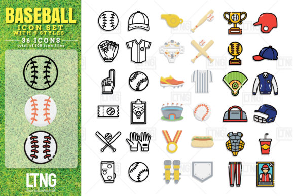 Baseball Icon Set with 3 Styles Graphic Icons By LTNG
