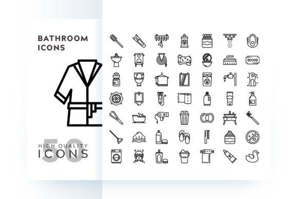Print on Demand: Bathroom Icons Graphic Icons By Goodware.Std