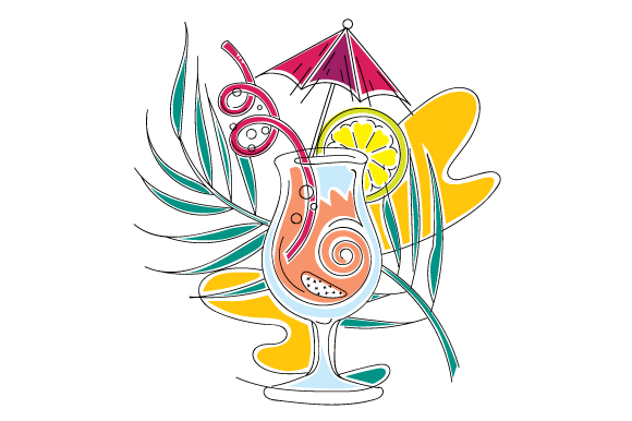 Download Free Beach Cocktail In Abstract Print Style Svg Cut File By Creative for Cricut Explore, Silhouette and other cutting machines.