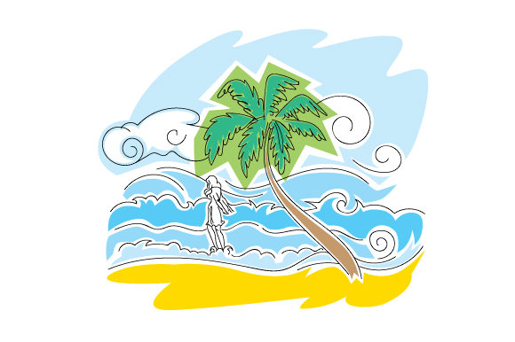 Download Free Beach Scene In Abstract Print Style Svg Cut File By Creative for Cricut Explore, Silhouette and other cutting machines.