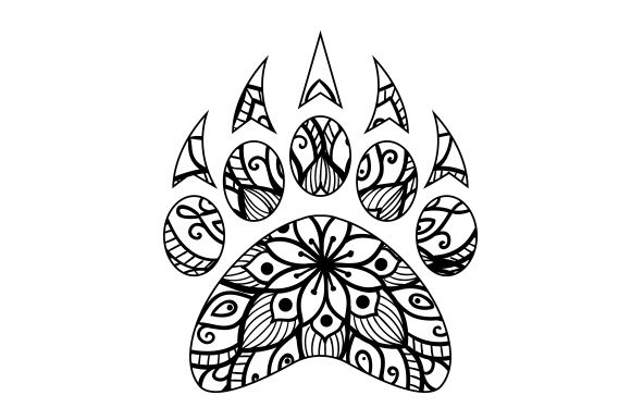 Download Free Bear Paw Print Mandala Svg Cut File By Creative Fabrica Crafts for Cricut Explore, Silhouette and other cutting machines.