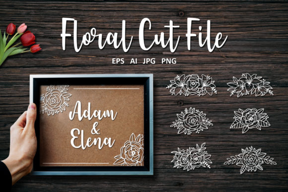 Download Free Bundle Set Of Deer Antlers Floral Graphic By Allmostudio for Cricut Explore, Silhouette and other cutting machines.