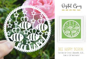 Bee Happy Paper Cut Design Graphic By Digital Gems