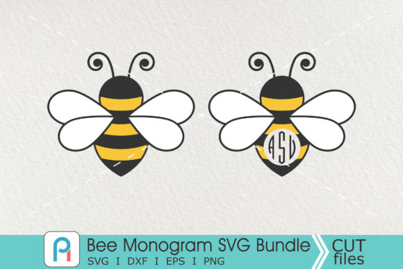 Download Free Bee Monogram Graphic By Pinoyartkreatib Creative Fabrica for Cricut Explore, Silhouette and other cutting machines.