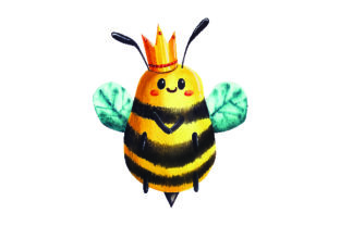 Bee with Crown in Watercolor Style Craft Design By Creative Fabrica Crafts