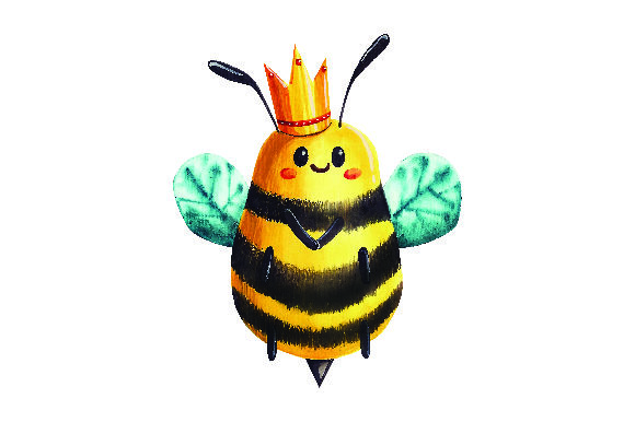 Bee with Crown in Watercolor Style Animals Craft Cut File By Creative Fabrica Crafts
